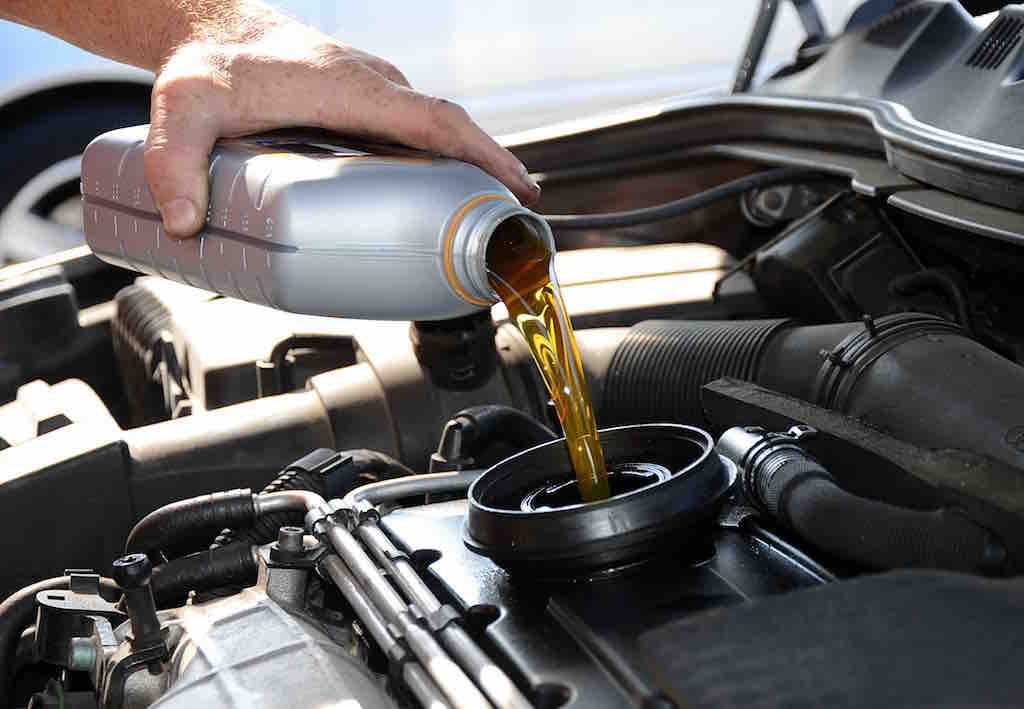 Oil top up at Hampton Motors as part of an interim car service